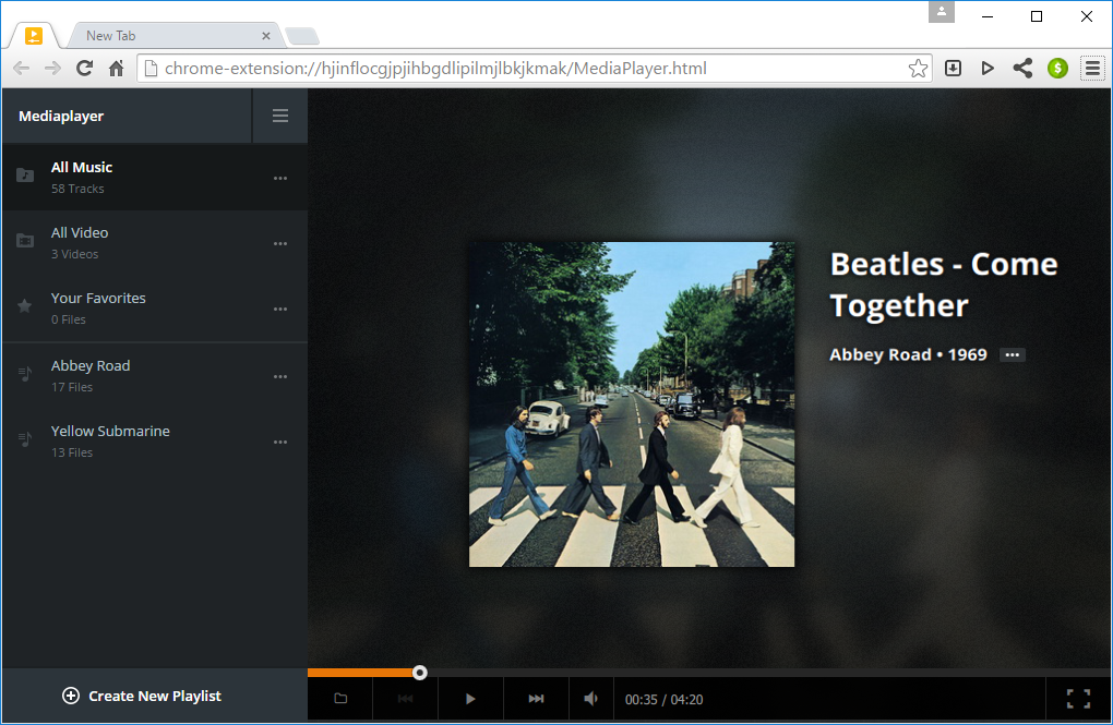 Playlists in Citrio Browser Media Player