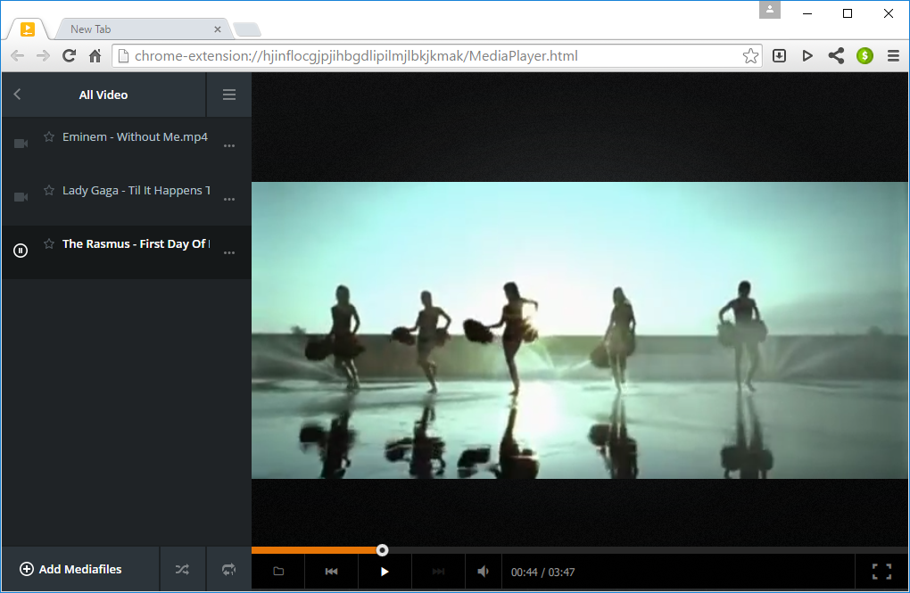 Video playlists in Citrio Browser Media Player